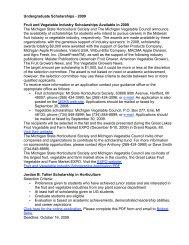 Undergraduate Scholarships - Department of Horticulture