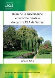 Bilan de la surveillance environnementale du centre CEA de Saclay