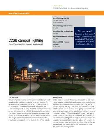 CCSU campus lighting - Osram Sylvania