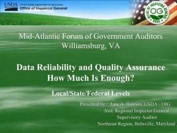 Data Quality Assurance - Intergovernmental Audit Forums