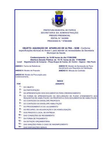 OBJETO: AQUISIÇÃO DE APARELHO DE ULTRA – SOM ... - Itapeva