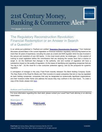 The Regulatory Reconstruction Revolution - Fried Frank