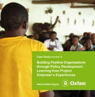 Building Positive Organisations through Policy Development - Oxfam