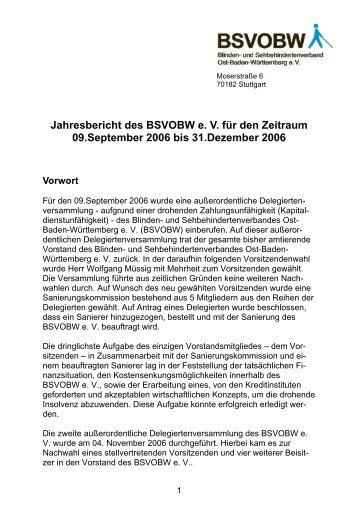Jahresbericht 2006 - Blinden- und Sehbehindertenverband ...