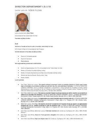 """sorin fildan - Universitatea de Vest """"Vasile Goldis"""" din Arad"""
