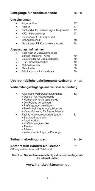 LEHRGANGSPROGRAMM - Handwerkskammer Bremen