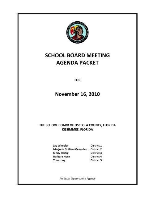 sports physical form osceola county  SCHOOL BOARD MEETING AGENDA PACKET - Osceola County ...