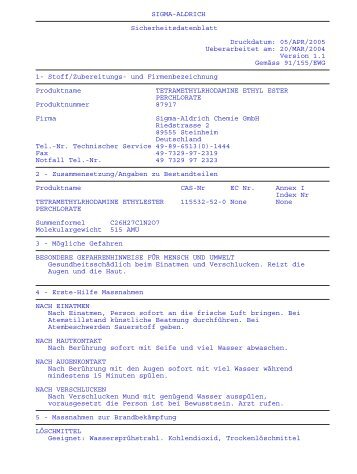 SIGMA-ALDRICH Sicherheitsdatenblatt Druckdatum ... - Pharmazie