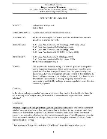 Sc Revenue Advisory Bulletin 02 6 The South Carolina