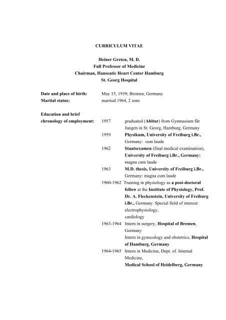 Curriculum Vitae Heiner Greten Md Full Professor Of Medicine
