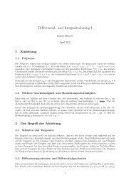 Differenzial- und Integralrechnung I - Rainer Hauser