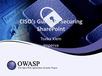 CISO's Guide to Securing SharePoint - owasp