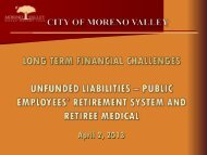 Unfunded Liabilities - City of Moreno Valley