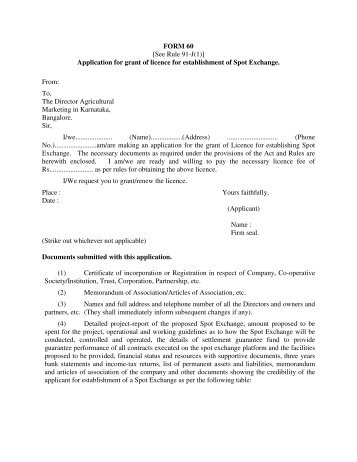 60 [See Rule 91-J(1)] Application for grant of licence for ...