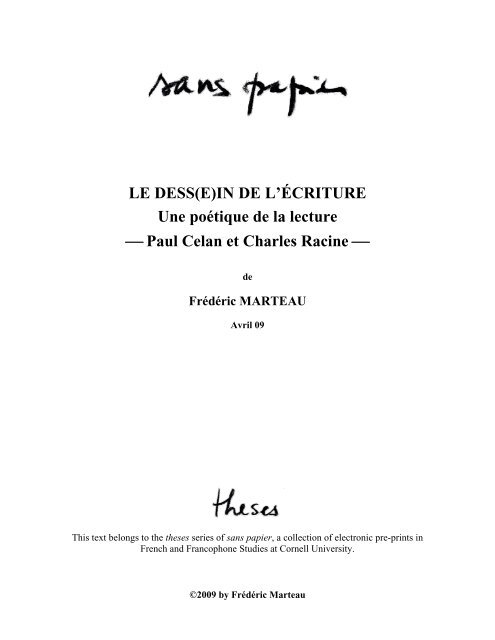 Le Dess E In De L Ecriture Une Poetique De La Lecture Paul