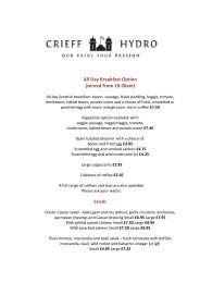 All Day Breakfast Option (served from 10:30am) - Crieff Hydro