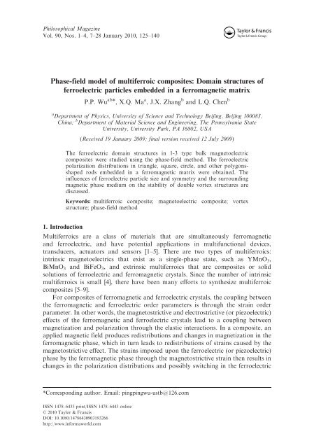 Phase-field model of multiferroic composites - Computational