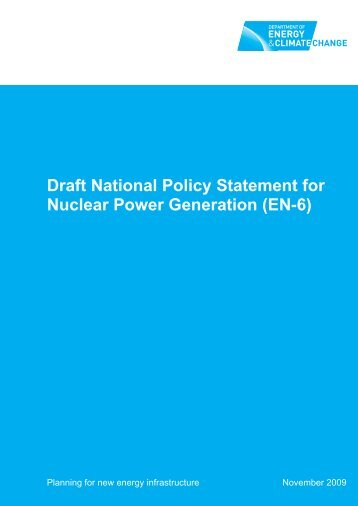 Draft National Policy Statement for Nuclear Power Generation (EN-6)