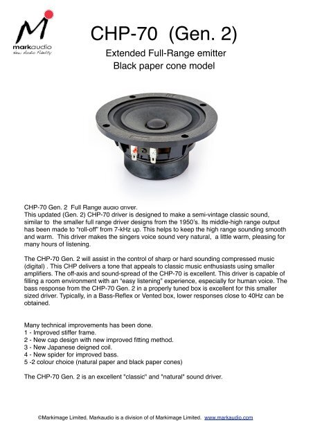 CHP-70-BP PDF - Madisound