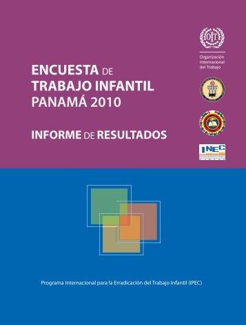 ENCUESTA DE TRABAJO INFANTIL PANAMÁ 2010 - Contraloría ...