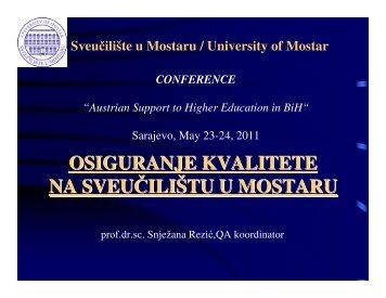 Osiguranje kvalitete na Sveučilištu u Mostaru - DANAS - WUS Austria