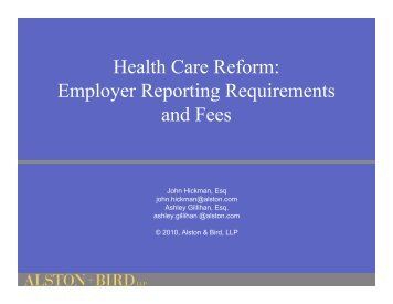 Health Care Reform: Employer Reporting Requirements and Fees