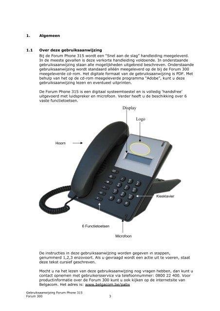 Forum Phone 315 Gebruiksaanwijzing - Belgacom