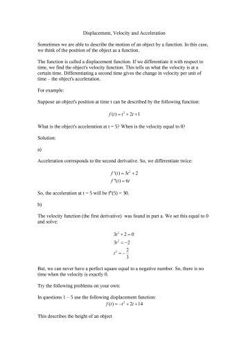 Worksheets Displacement Velocity And Acceleration Worksheet displacement velocity acceleration worksheet and sometimes we about com