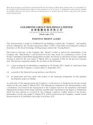 Positive Profit Alert - goldbond group