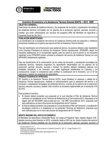 Conocer la Ficha Técnica - Ministerio de Agricultura y Desarrollo Rural
