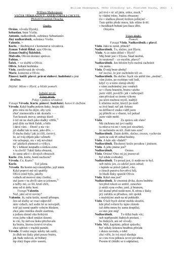 William Shakespeare VEČER TŘÍKRÁLOVÝ, ANEB COKOLI ...