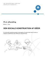 DEN SOCIALE KONSTRUKTION AF IDÉER - Københavns Universitet