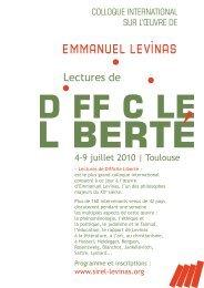 Programme - Société Internationale de Recherche Emmanuel Levinas
