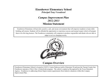 2012-2013 Campus Improvement Plan (CIP) - Grand Prairie ...