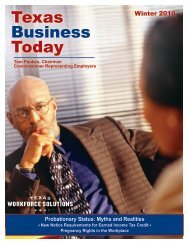 Newsletter: Texas Business Today, Winter 2010 - Texas Workforce ...