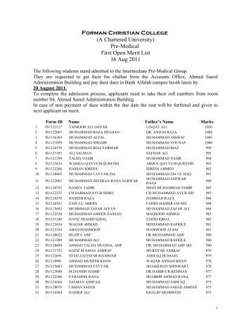 Pre-Medical First Open Merit List 16 Aug 2011 - ilmkidunya