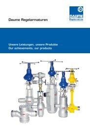 Unsere Leistungen, unsere Produkte - Daume Regelarmaturen Gmbh