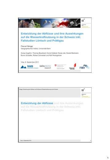 Entwicklung der Abflüsse und ihre Auswirkungen ... - Universität Bern