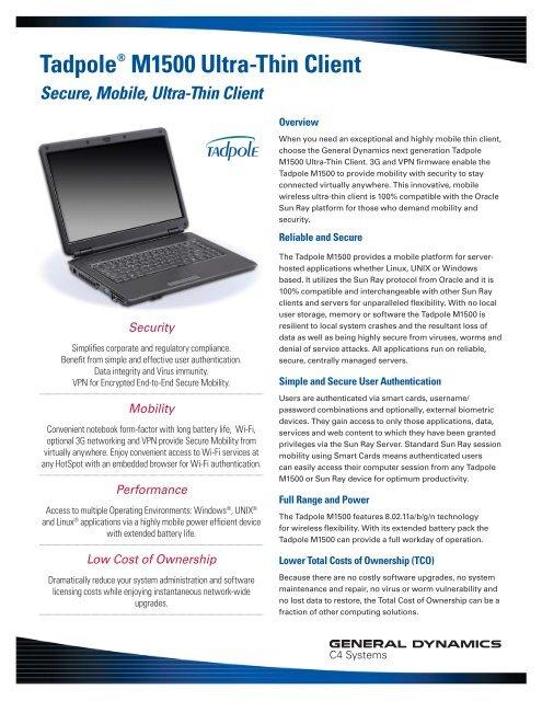 Tadpole® M1500 Ultra-Thin Client