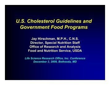 U.S. Cholesterol Guidelines and Government Food Programs U.S. ...