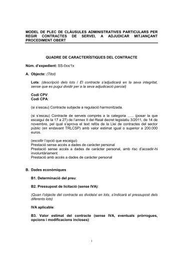 Plec tipus de clàusules administratives particulars de ... - Barri La Mina