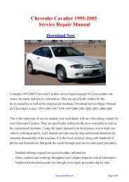 Download Chevrolet Cavalier 1995-2005 Service Repair ... - Carfsm