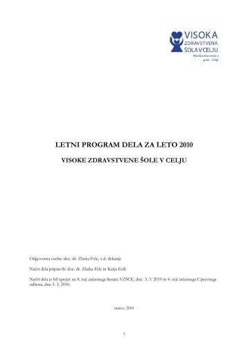 letni program dela za leto 2010 - Visoka zdravstvena Ã…Â¡ola v Celju