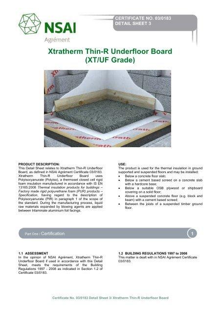 Xtratherm Thin R Underfloor Board Xt Uf Grade