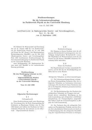 Studienordnung Lehramt - Fachbereich Physik - Universität Hamburg