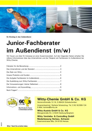 Junior-Fachberater im Außendienst - Witty Chemie GmbH & Co. KG