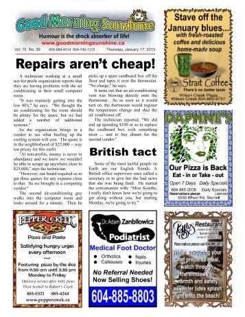 Repairs aren't cheap! - Good Morning Sunshine.ca