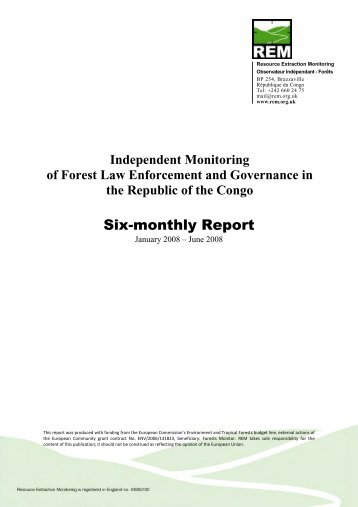 REM Rapport Annuel No. 1 OIF Congo Brazzaville - Forests Monitor