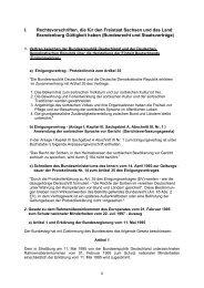 I. Rechtsvorschriften, die für den Freistaat Sachsen und das Land ...