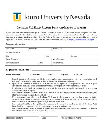 Federal Direct Plus Loan Request Form - Home - Bloomsburg University